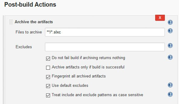 Figure 6. A Jenkins postbuild action configured to archive all Simulink cache files from the Jenkins workspace to the build archive area after the build has finished.