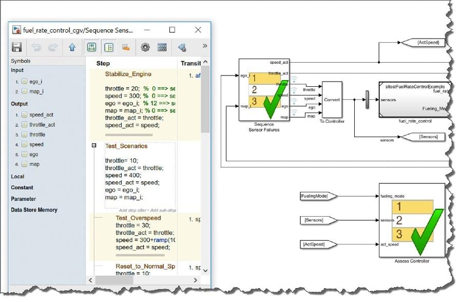 图4.Simulink测试序列和评估模块用于建模和编制复杂的测试场景。