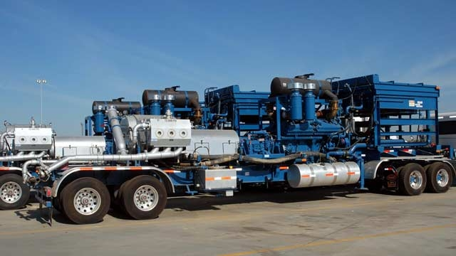 Truck with positive displacement pump.