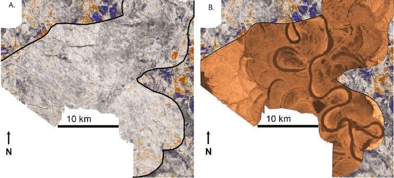 通过3D震波数据立方体构建的水平切片。预测油藏目标内部地质学的一种可能的配置。
