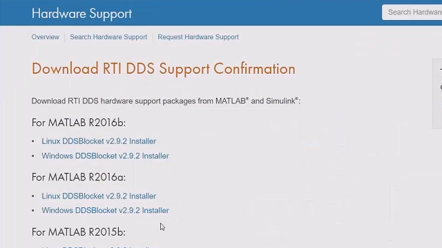 Install the RTI DDS support package for MATLAB and Simulink.