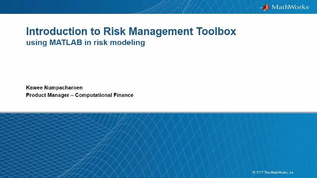 Learn how MATLAB can help you develop risk models and perform risk simulation using Risk Management Toolbox. In this webinar, you will learn how to perform common tasks in both credit risk and market risk using MATLAB.