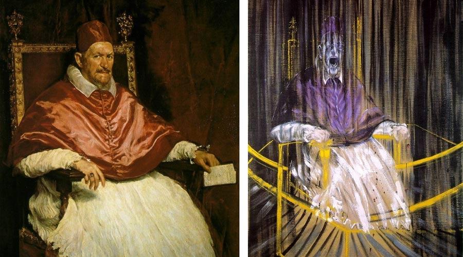 图1(左):维拉斯奎兹的《教皇英诺森十世肖像》。右:弗朗西斯·培根的《教皇英诺森十世肖像的习作》。