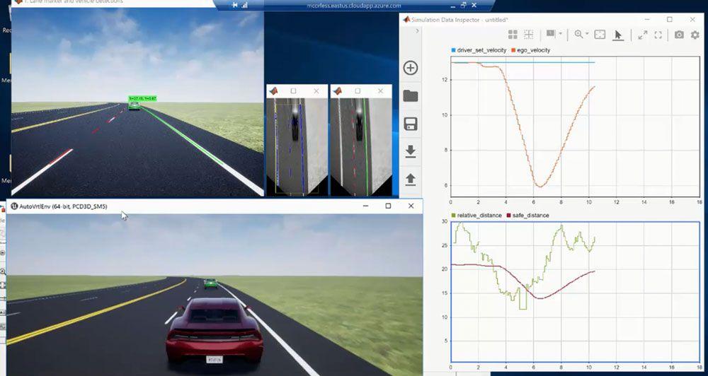 具有单目相机感知功能的车道跟随控制应用程序(通过 MATLAB 和 Simulink 创建)。
