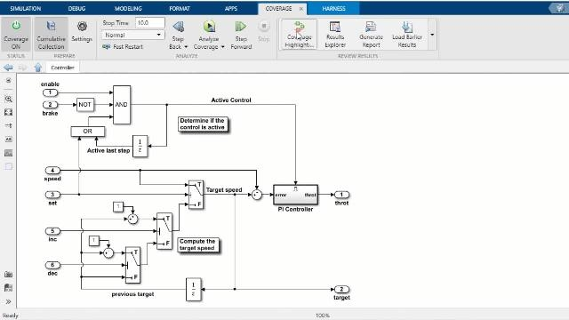 Starting in R2020a, you can scope test coverage results to linked requirements-based tests using Simulink Coverage. This improves confidence that model elements are covered by the intended test cases.