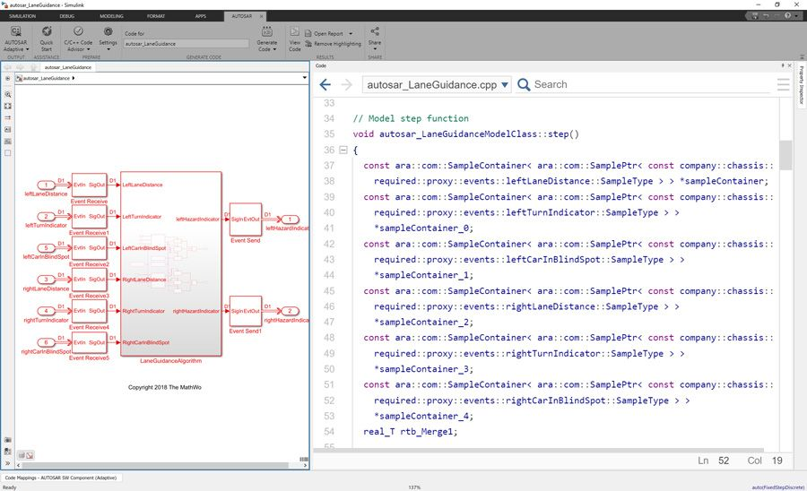 使用 AUTOSAR Blockset 和 Embedded Coder,在 Simulink 中为基于 SOA 的 AUTOSAR Adaptive 应用建模并生成 C++ 代码。