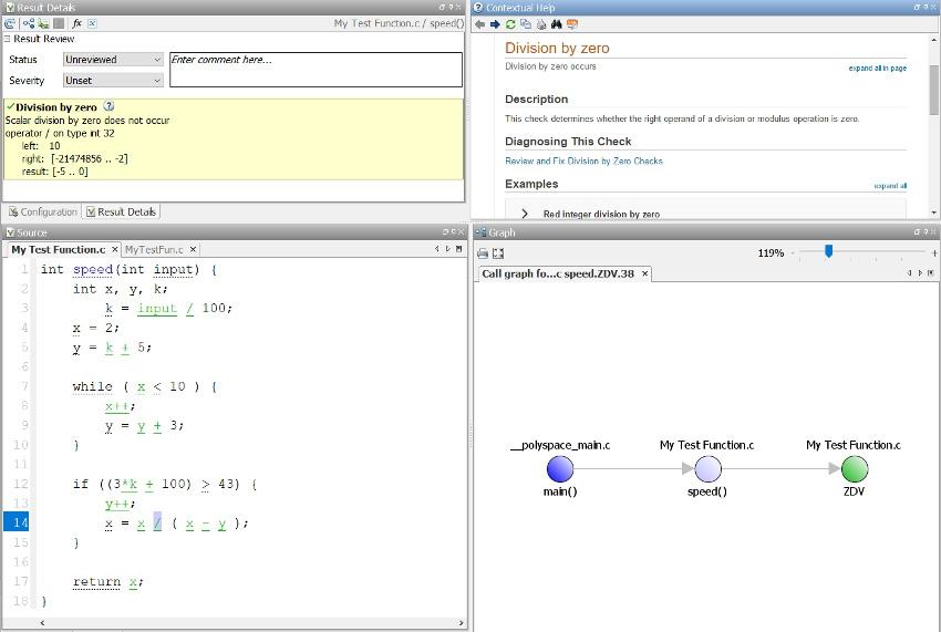 使用 Polyspace Code Prover 进行除零检查。