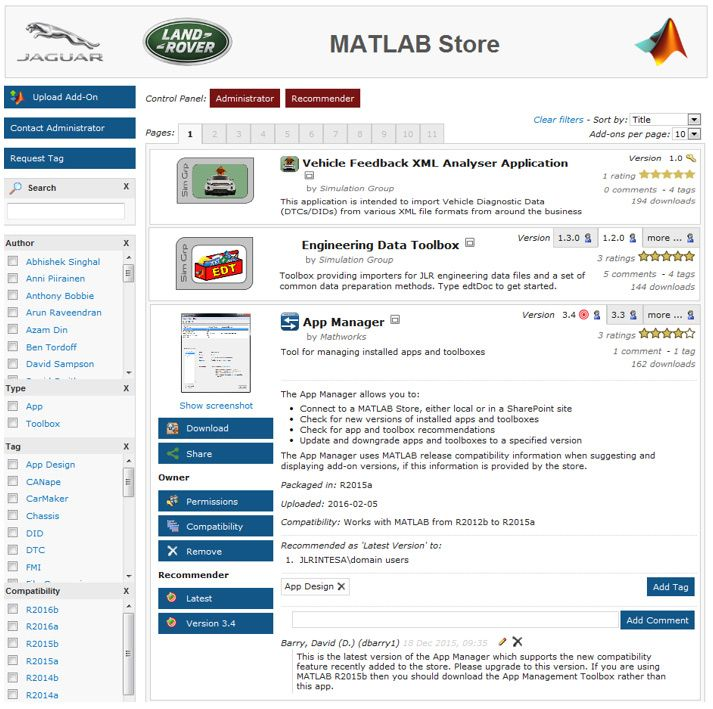 Jaguar Land Rover's MATLAB App Store, which provides one-click download and install of ready-to-use engineering tools, authored by their engineers for their engineers.