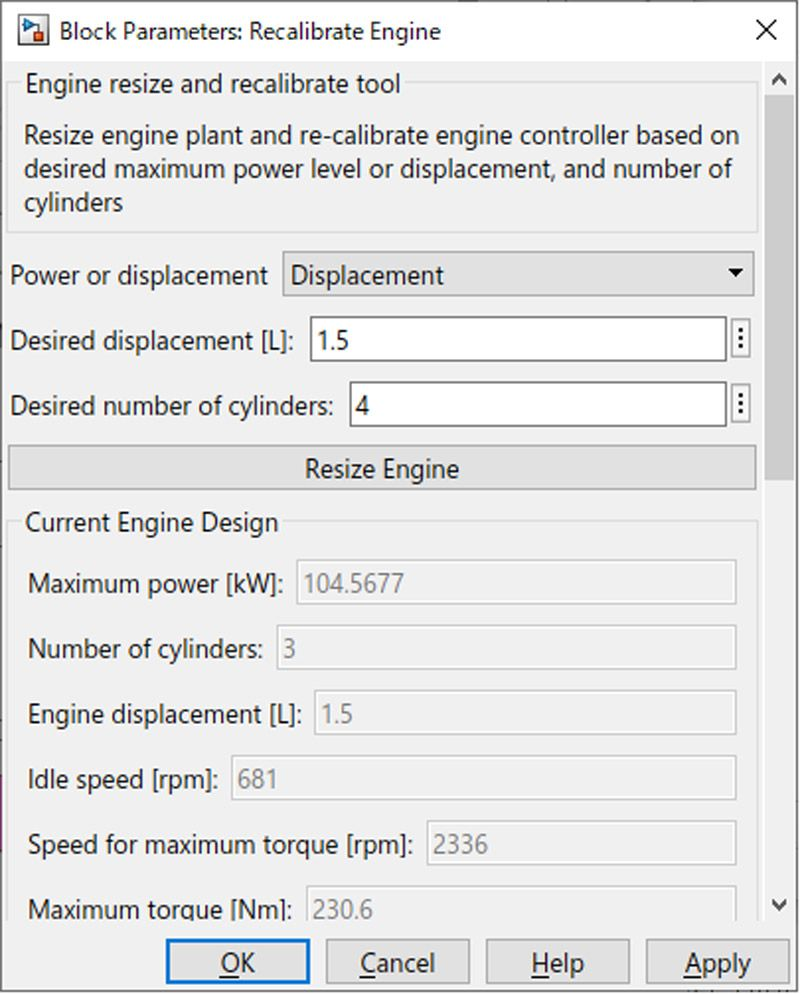 User interface for the engine resize feature within the Powertrain Blockset engine dynamometer reference application.