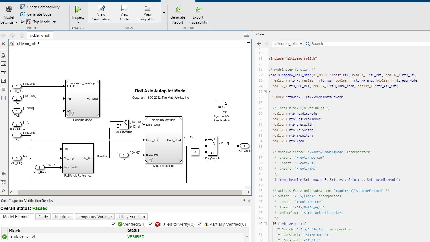 The app interface showing a model, its generated code, and inspection results.