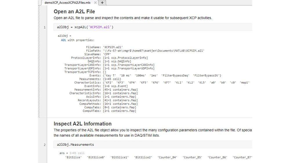 MATLAB function to parse and inspect an A2L file.