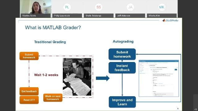 MATLAB Grader allows faculty, instructors and instructional designers to create interactive MATLAB course problems, automatically grade student work, provide feedback, and integrate these tasks into learning management systems (e.g. Moodle, Blackboard, Canvas).