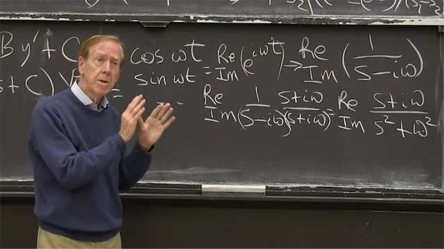 The second derivative transforms to <em>s<sup>2</sup>Y</em> and the algebra problem involves the transfer function <em>1/ (As<sup>2</sup> + Bs +C).</em>