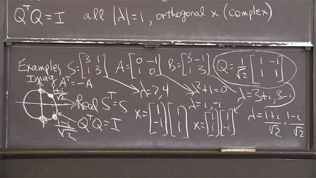 Symmetric matrices have <em>n</em> perpendicular eigenvectors and <em>n</em> real eigenvalues.