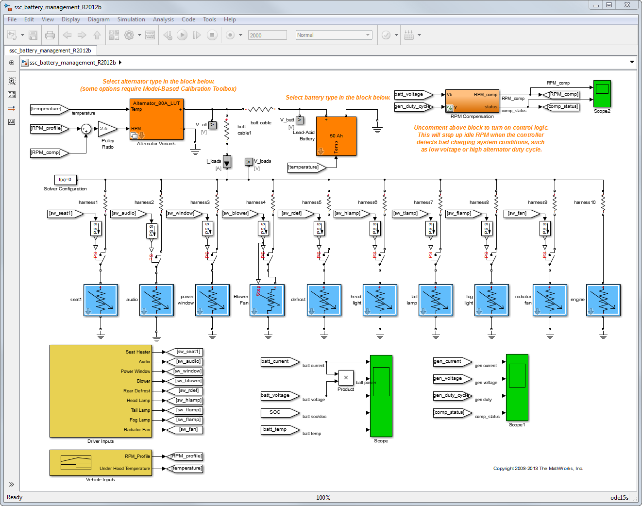Automotive Electrical System Simulation and Control