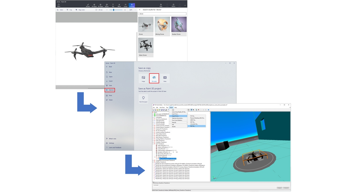 Drone imported from a Paint 3D library, saved as an FBX file, and loaded into a 3D world.