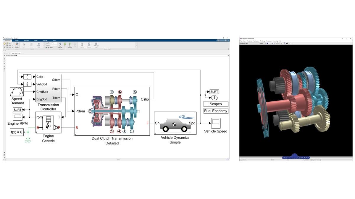 采用 Simscape Driveline 建模的双离合变速器的动力学特性的三维动画