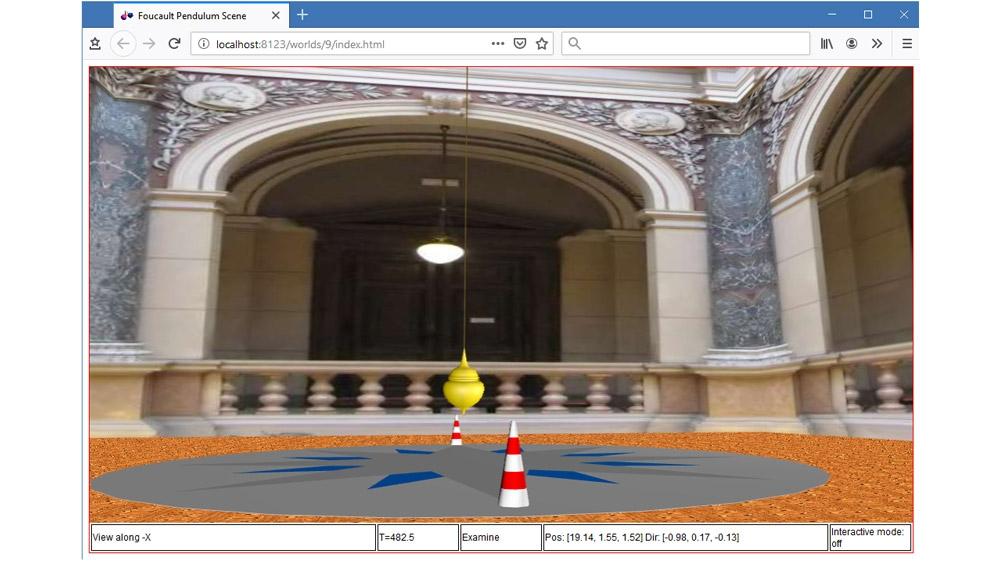 在支持 HTML5 的浏览器中显示傅科摆的三维动画。
