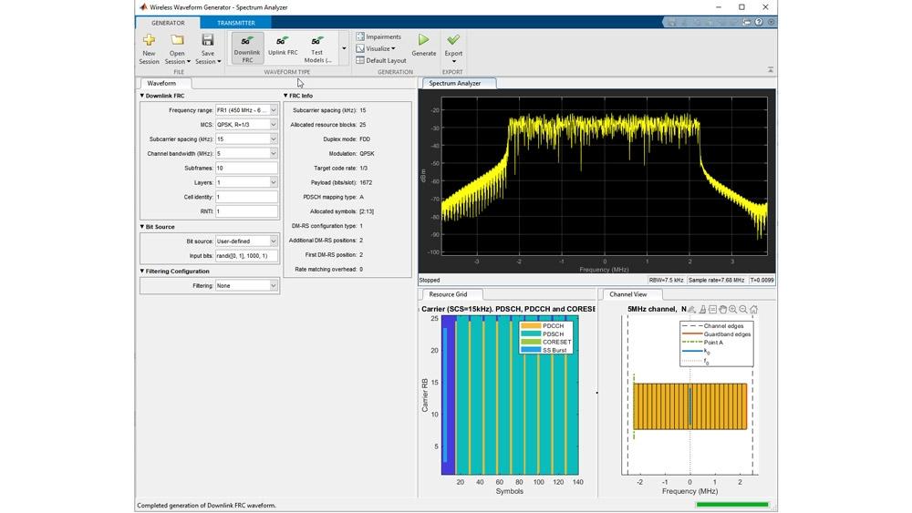 使用 Wireless Waveform Generator 应用程序生成测试模型。