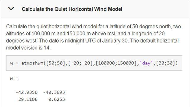 计算特定时间和地点的风模型。