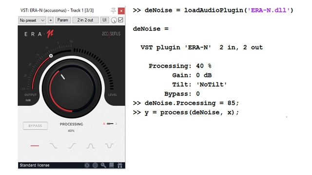 MATLAB 中用于音频去噪的外部 VST 插件 (Accusonus ERA-N) 和编程界面的示例。