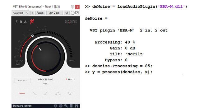 左侧是用于音频去噪的商业音频插件 UI,包含用于设置噪声抑制级别的大旋钮。右侧是几行代码,显示了如何导入此插件,并将其作为 MATLAB 对象以编程方式使用。