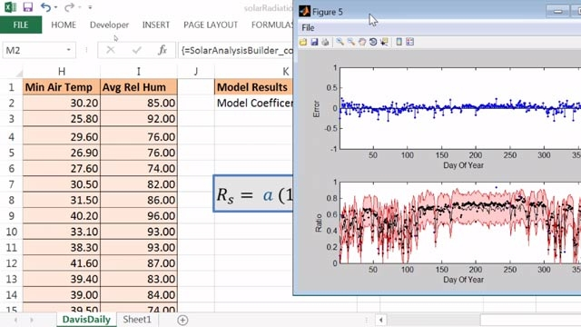 使用 MATLAB Compiler 创建和共享 Excel 插件,其中包含日照分析系数公式,并且提供图形输出。