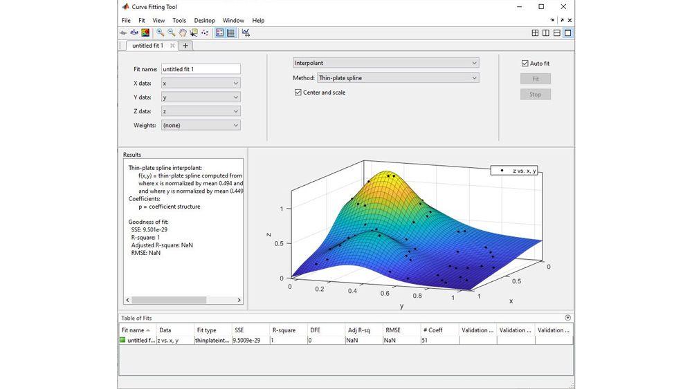 使用 Curve Fitting 应用程序拟合曲面。