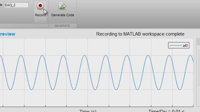 Analog Input Recorder 应用程序可帮助您快速开始使用 Data Acquisition Toolbox。您可以交互式配置一个会话,直接将数据采集到 MATLAB 工作区,然后生成 MATLAB 代码,以便将来自动进行数据采集。