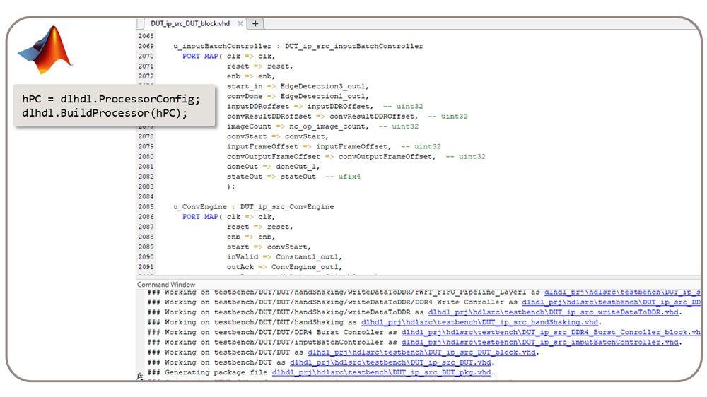 dlhdl.BuildProcessor 类可从自定义深度学习处理器生成可合成的 RTL。