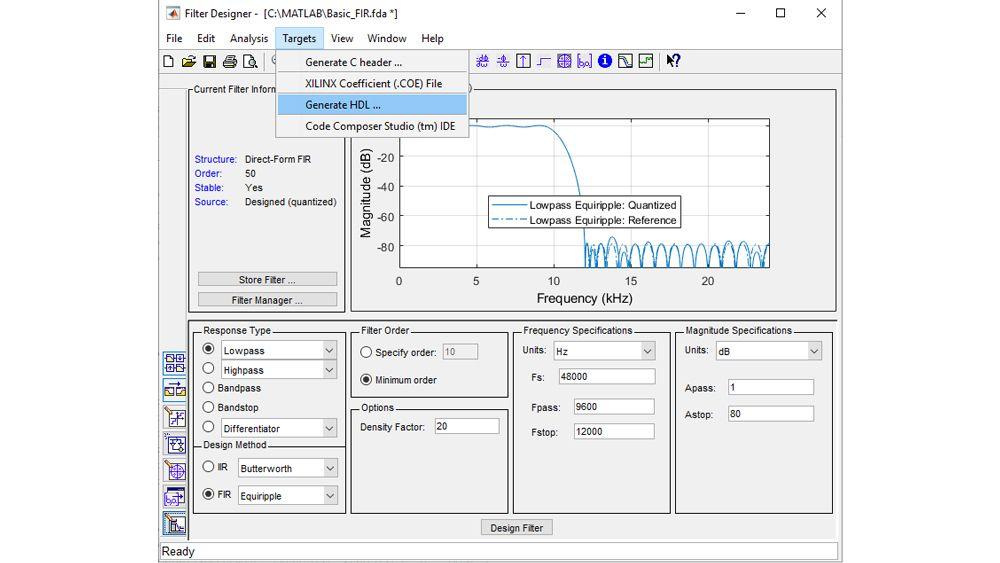 配置并量化滤波器,然后启动 HDL 代码生成 UI,生成可合成的 VHDL 或 Verilog 代码。