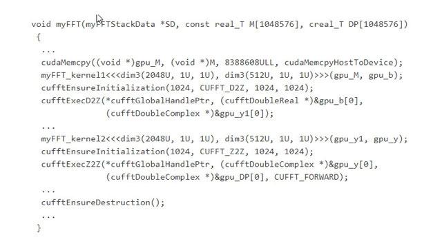 生成的代码,其中调用了优化的 cuFFT CUDA 库中的函数。
