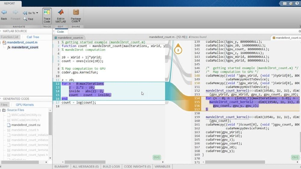 通过将 GPU Coder 和 Embedded Coder 结合使用生成的交互式可溯源性报告。