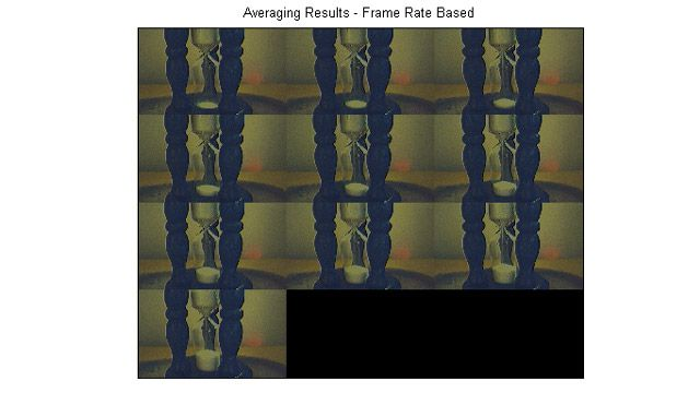 通过在帧延迟之后激发触发器,采集 5 个帧,然后对这些帧求平均值所创建的图像的剪辑画面。