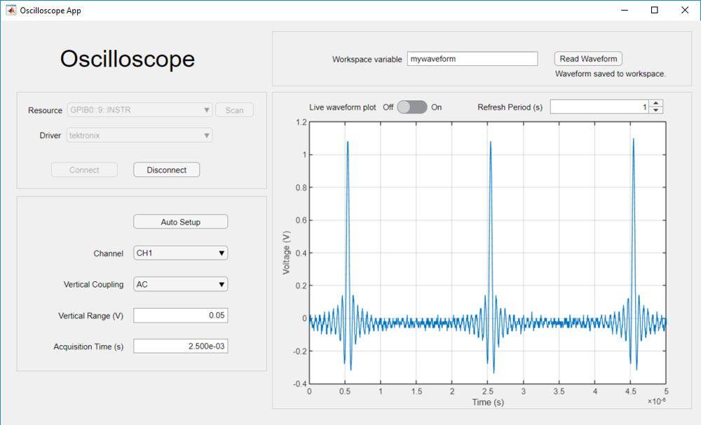 用来采集数据和调节示波器设置的应用。