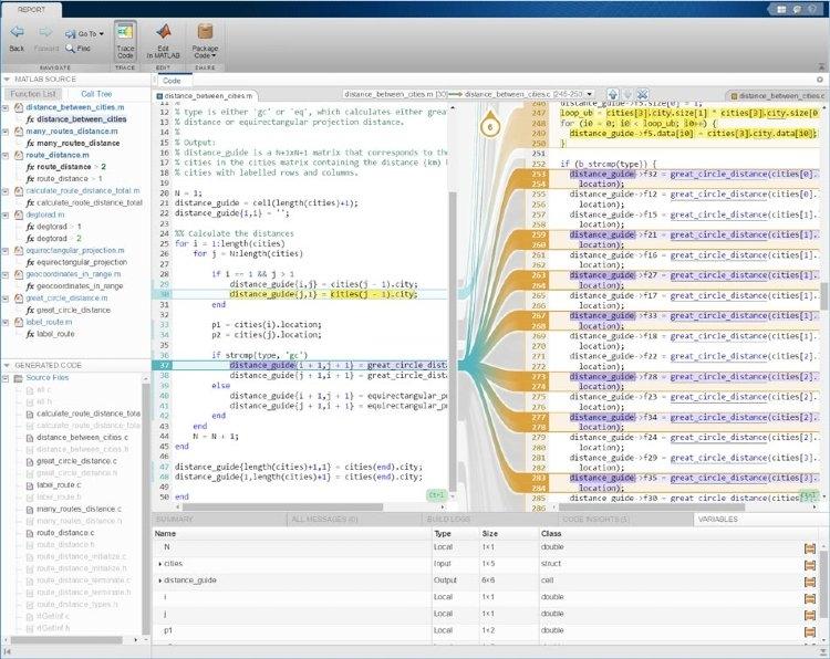 结合使用 MATLAB Coder 和 Embedded Coder 生成交互式可追溯性报告。