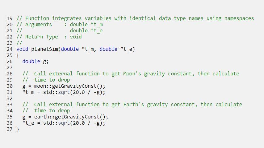 使用命名空间生成代码,将具有同名数据类型的变量集成到一起。