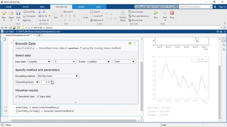 实时编辑器任务是可以在实时脚本中嵌入的应用程序,使您能够交互式地浏览参数和选项,立即查看结果,并为已完成的任务自动生成相应的 MATLAB 代码。