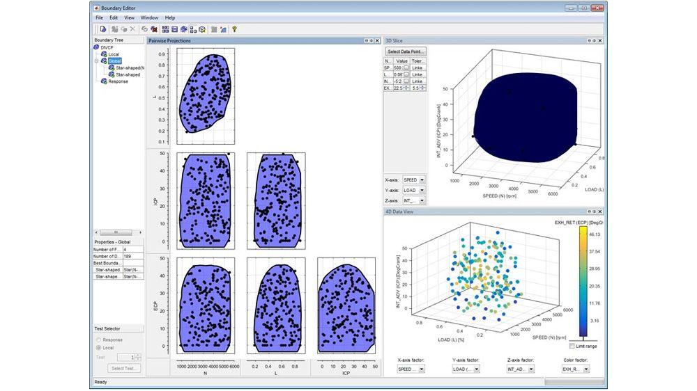 使用边界编辑器定义和可视化可行的测试区域以及相关联的测试条件。