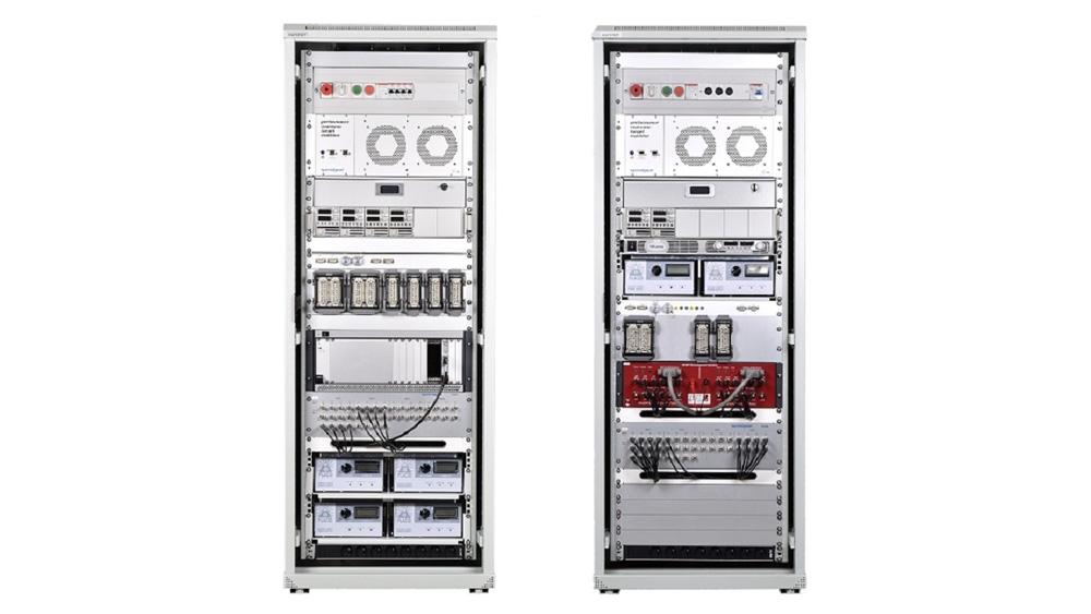 完成 Speedgoat 机架设置。此设置用于使用硬件在环测试平台自动测试牵引器控制器。
