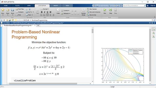使用 Optimization Toolbox 的基于问题的方法表示和求解非线性优化问题。在目标函数和约束条件中使用非线性函数。使用自动选择的求解器进行解算。