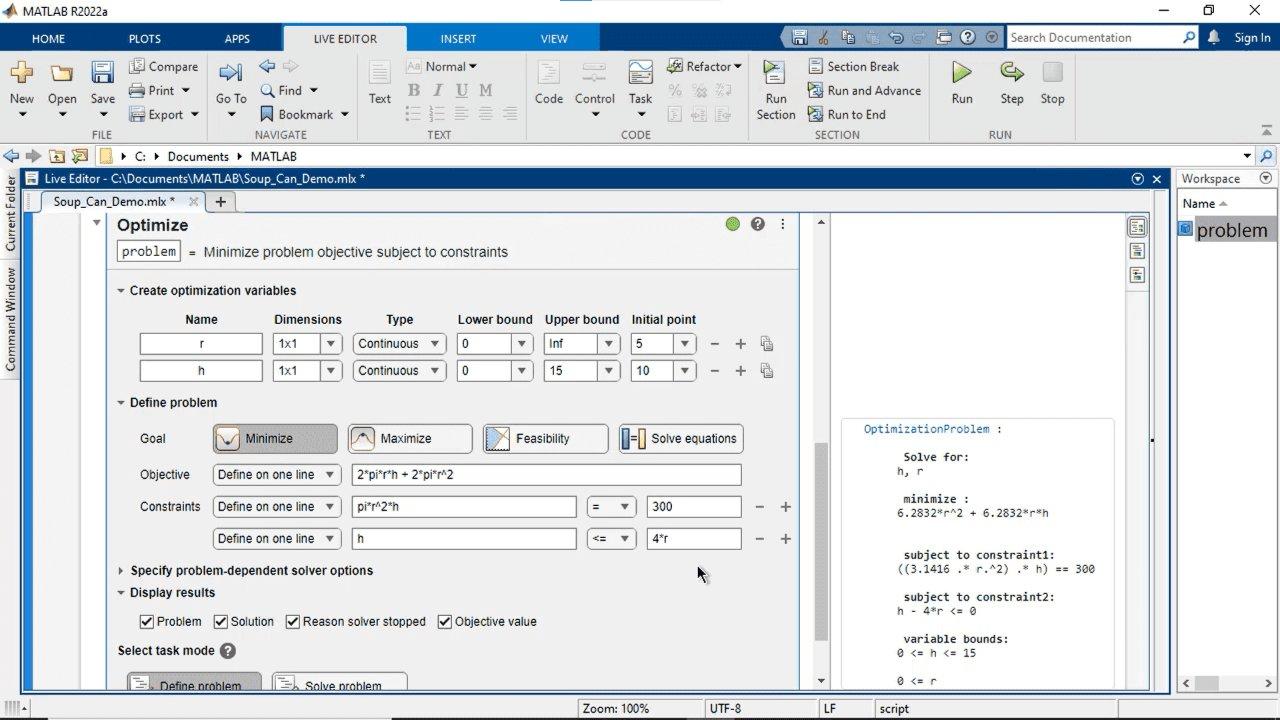 使用 MATLAB、Optimization Toolbox 或 Global Optimization Toolbox,在一个可视化界面中交互式创建并求解优化问题。您可以指定目标和约束、选择求解器并设置选项。