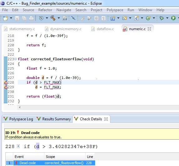 Identify dead code right at compile time within your Eclipse IDE using Polyspace Bug Finder.