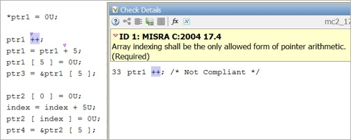 MISRA C:2004 Rule 17.4 restricts pointer arithmetic to array indexing.