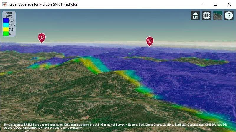 地形图显示了两个雷达系统的联合目标覆盖区域。