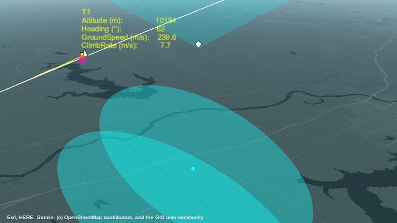 雷达系统沿航线跟踪飞机。
