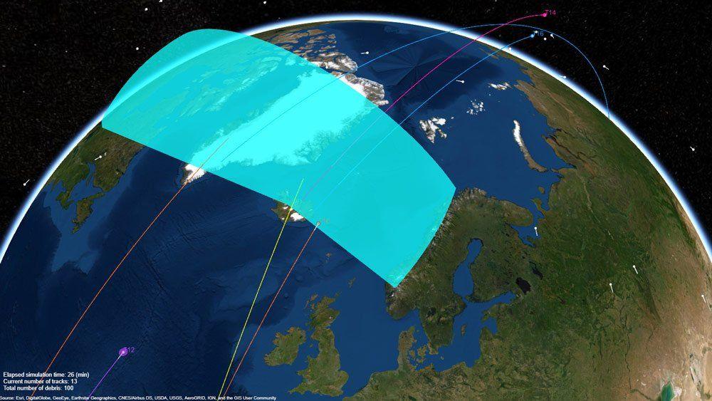雷达系统跟踪绕地飞行的太空垃圾。