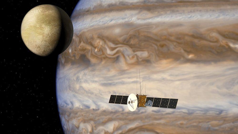 """空中客车防务与航天公司仿真""""木星冰卫星探测器""""任务的数据流。"""