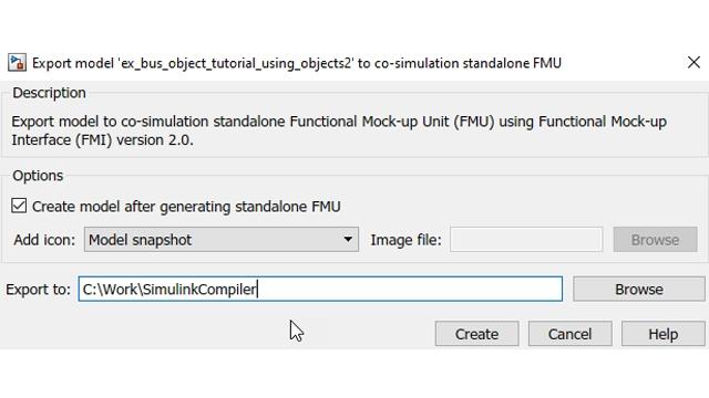 创建 FMU 后可选择自动将创建的 FMU 放回到 Simulink 中。