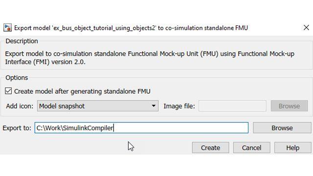 可选择在创建 FMU 后自动将其放回 Simulink。